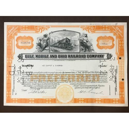 Gulf, Mobile and Ohio Railroad  Company - Железные дороги - Сертификат на привилегированные акции - Америка - 1957 г.