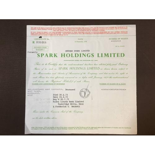 Heenan Spark Limited (Spark Holdings Limited ) - Сертификат - Англия, 1971 г.