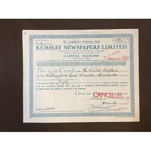 Kemsley Newspapers Limited - Сертификат - Газеты - Англия, 1956 г.