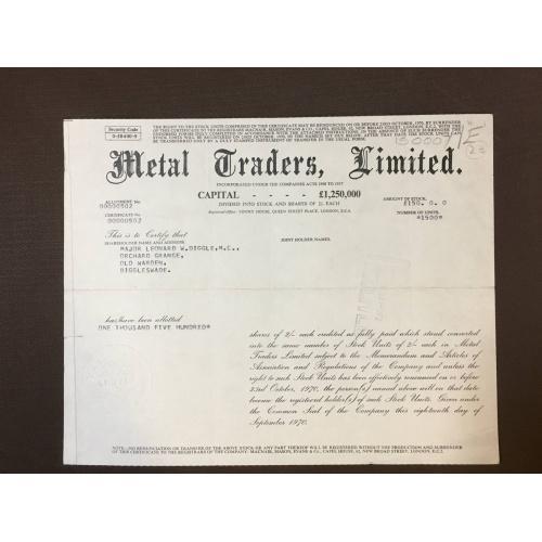 Metal Traders, Limited - Сертификат - Металлотрейдеры - Англия, 1970 г.