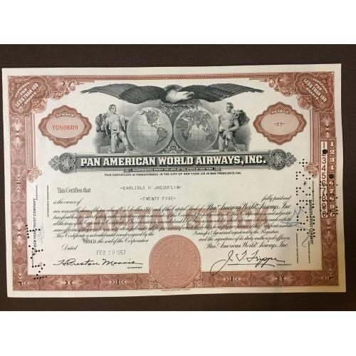 Pan American World Airways, Inc - Сертификат - Америка - 1957 г.
