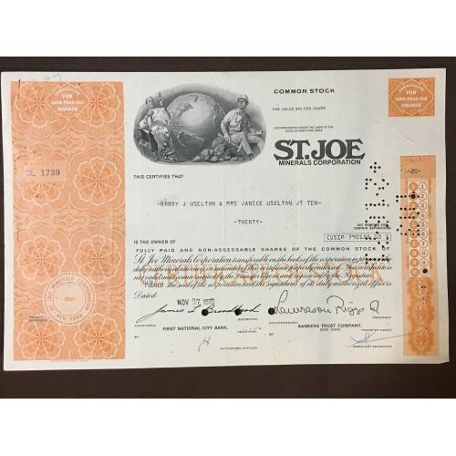 St. Joe Minerals Corporation - Сертификат - Америка - 1971 г.