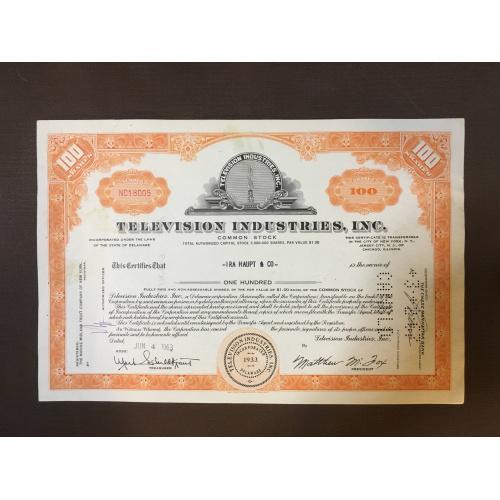 Television Industries, Inc - Телевизионная промышленность - Сертификат - Америка - 1963 г.