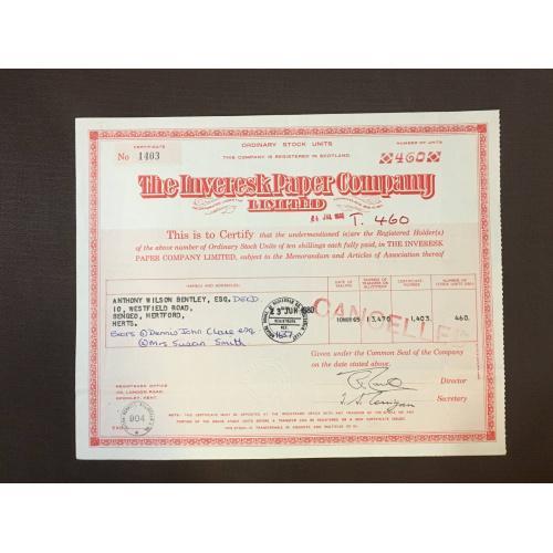 The Inveresk Paper Company  Limited  - Сертификат - Полиграфия  - Англия, 1986 г.