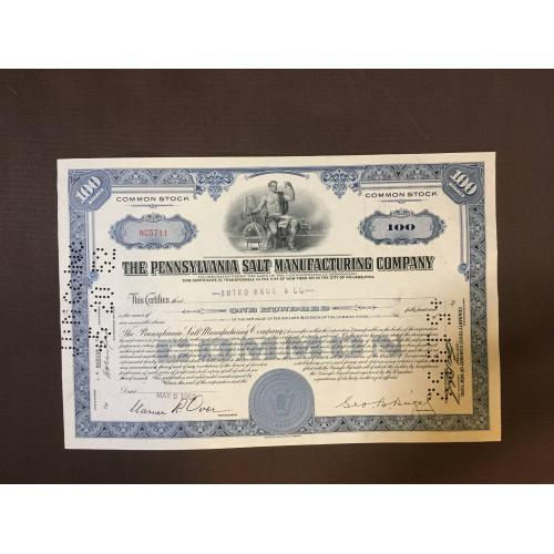 The Pennsylvania Salt Manufacturing company - Компания по производству солей в Пенсильвании - Сертификат - Америка - 1952 г.