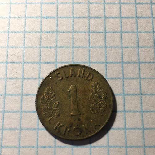 Монета Исландия 1 крона 1971 г.