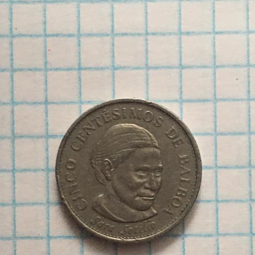 Монета Панама, 5 сентесимо 2001 г. Сара Сотильо — известная панамская феминистка