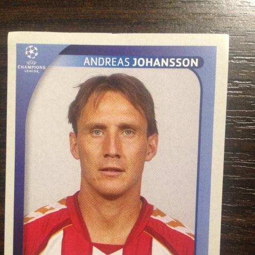 Наклейка. Andreas Johansson.  Champions League 2008-2009. PANINI.