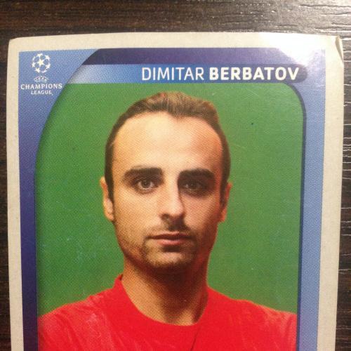 Наклейка. Dimitar Berbatov.  Champions League 2008-2009. PANINI.