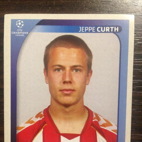 Наклейка. Jeppe Curth.  Champions League 2008-2009. PANINI.