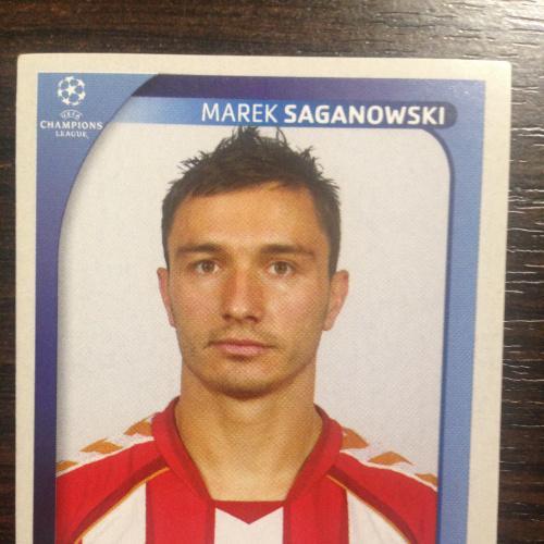 Наклейка. Marek Saganowski.  Champions League 2008-2009. PANINI.