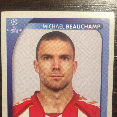 Наклейка. Michael Beauchamp.  Champions League 2008-2009. PANINI.