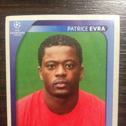 Наклейка. Patrice Evra.  Champions League 2008-2009. PANINI.