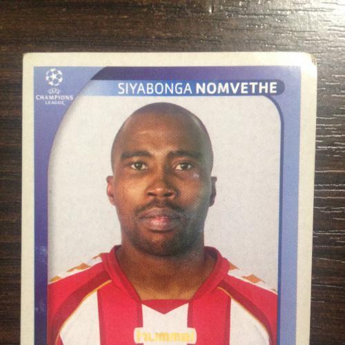 Наклейка. Siyabonga Nomvethe.  Champions League 2008-2009. PANINI.