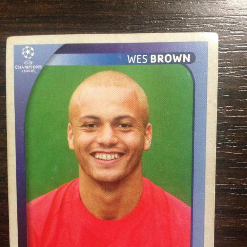 Наклейка. Wes Brown.  Champions League 2008-2009. PANINI.