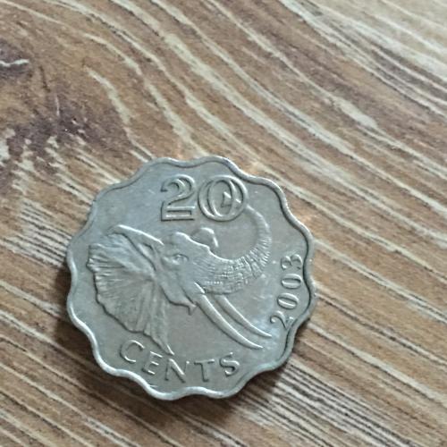 Свазиленд 20 центов 2003 года Фауна Слон