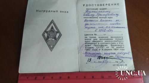 Удостоверение к академическому серебряному ромбу, Высший Военно-Педагогический Институт