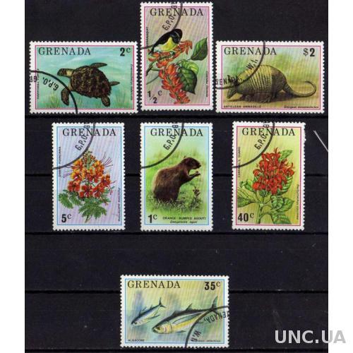Гренада Фауна Животные Птицы Рыбы Флора Полная Серия