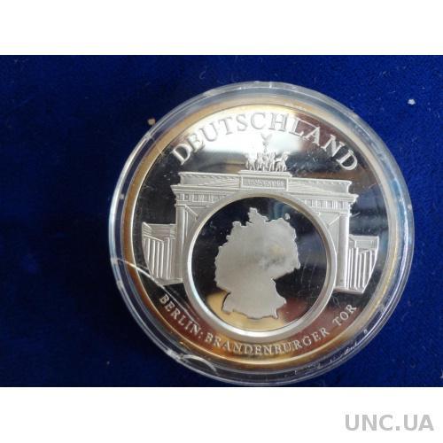 Германия 1992 серебро 999, медаль Объединение Европы / Брандербургские ворота - символ Берлина