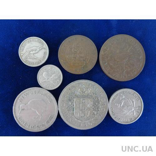 Новая Зеландия 1/2 крона, флорин, шиллинг, пенни, 3 и 6 пенсов 1950, 1952 Георг VI набор 7 монет