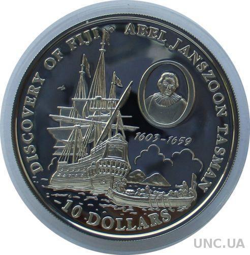 о-ва Фиджи 10 долларов 1993 серебро 350 лет открытия островов, капитан Абель Тасман 1643 г.