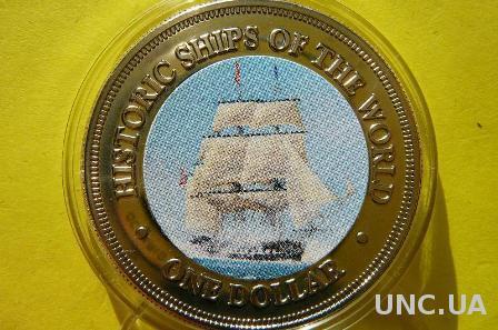 о-ва Кука 1 доллар 2003 серия исторические парусники мира - Конститьюшн, корабль №1 ВМФ США