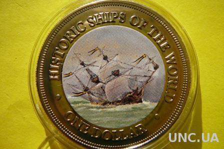 о-ва Кука 1 доллар 2003 серия исторические парусники мира - Васа, шведская катастрофа 1628 г.