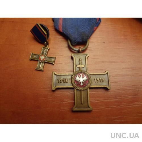 Польша Крест участника Великопольского восстания 1918-19 г.г. с фрачником