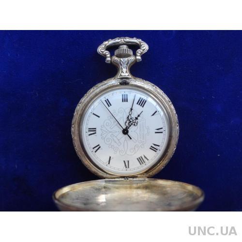 Швейцария часы карманные кварцевые серебро, фирма Holtzmann, система Swiss Quartz, на ходу