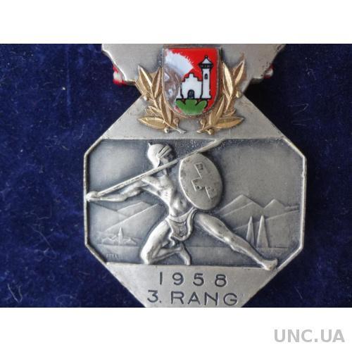 Швейцария стрелковая медаль за 3 место 1958 г. Штеффисбург, кантон Берн