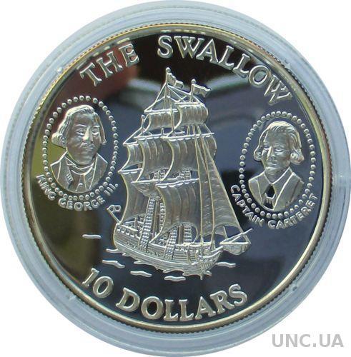 Соломоновы о-ва 10 долларов 1994 серебро открытие островов, капитан Картер