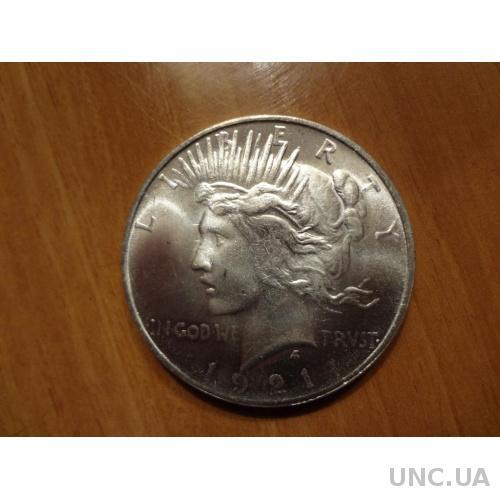 США 1 доллар 1921 Мирный серебро, идеальная копия