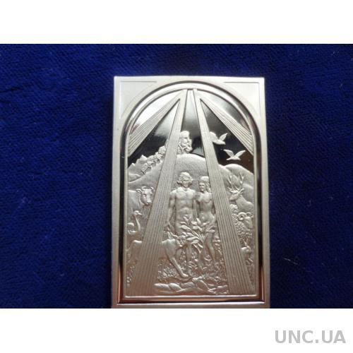 Ватикан Адам и Ева, Рай серебро - 26 гр. Памятная медаль, пруф