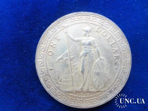 Великобритания Гонконг 1 доллар 1911 посеребряная копия!