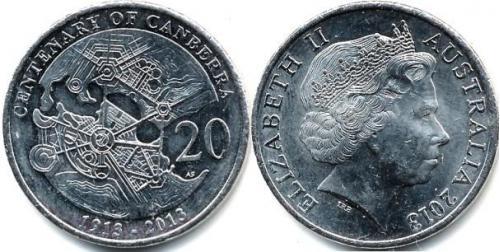 Австралійський Союз (англ. Commonwealth of Australia), Канбера), 20 центів, 2013