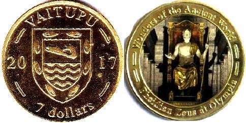 Острів Вайтупу (англ. Vaitupu Islands), 7 доларів, 2017, Зевс на троні, холд.