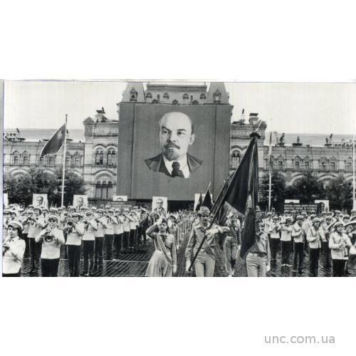 ФОТО ХРОНИКА ПАРАД ПИОНЕРЫ ЗНАМЯ ДЕТИ ЛЕНИН МУЗЫКА