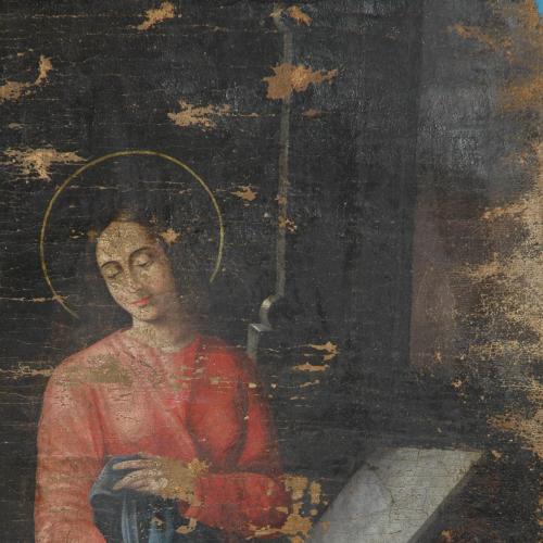 Благовіщення ікона полотно 95*65 см. не реставрована автор невідомий