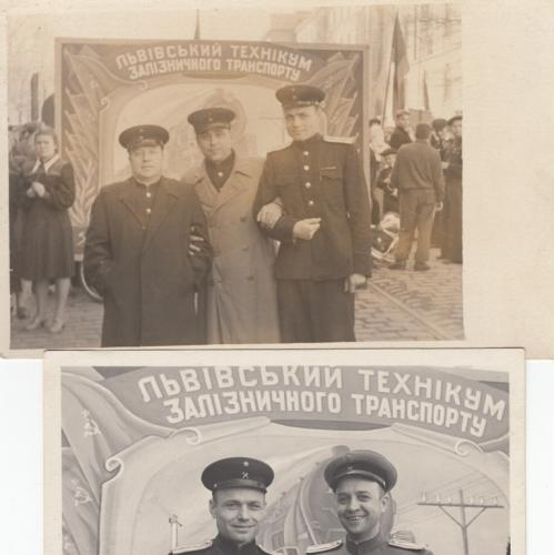 Фото. Львовский железнодорожный техникум на демонстрации. 1954 г.