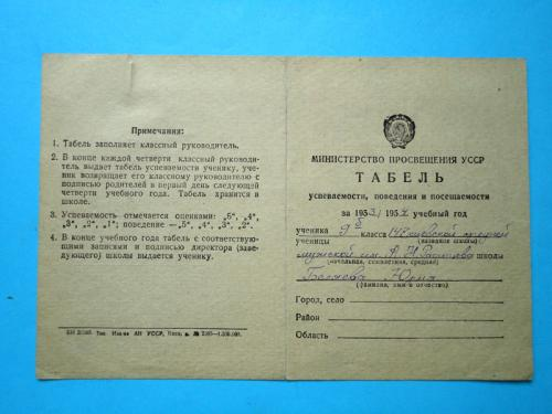 Табель успеваемости ученика 9 класса Киев 1953-1954г.