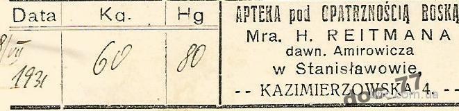 Аптека Украина Станислав И-Франковск 1931 этикетка
