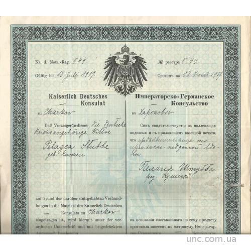 Харьков 1907 консульство Германия свидетельство о гражданстве паспорт