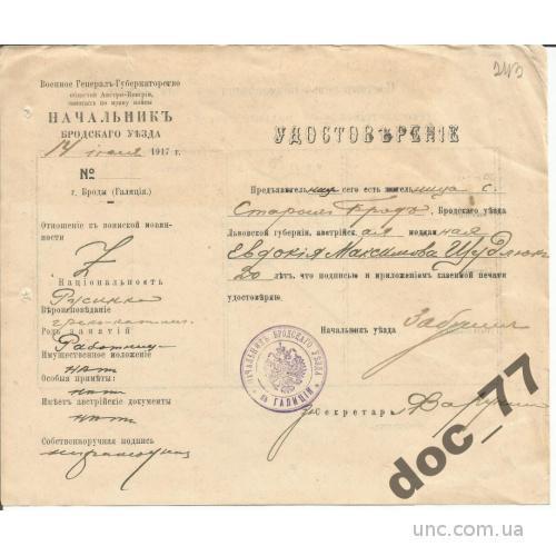 Паспорт Война с Австро-Венгрией 1917 Броды пропуск