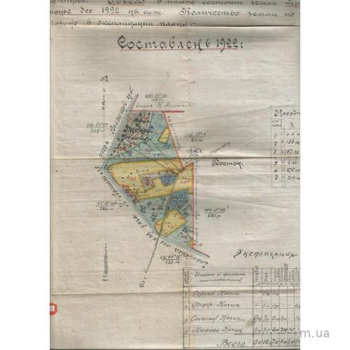 План земельного участка 1922 Волынская губ. 35 гектаров