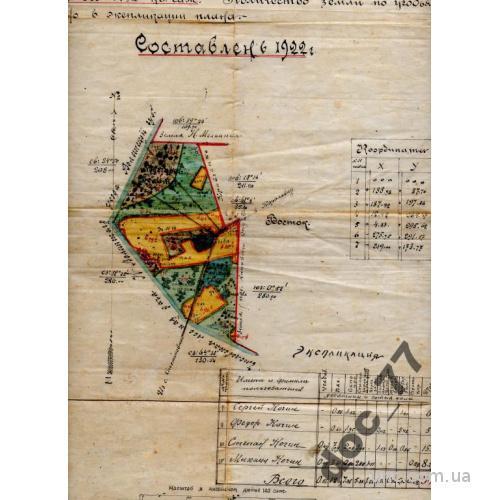 План земельного участка 1922 Волынская губ.