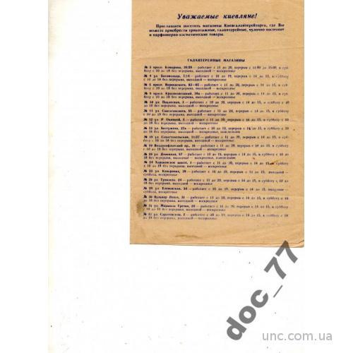 реклама галантерейных парфюмер.магазинов Киев 1985