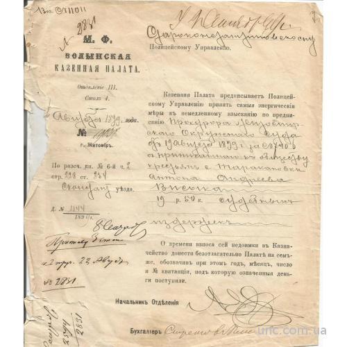 Житомир 1899 Волынская Казенная Палата Иск об уплате налогов