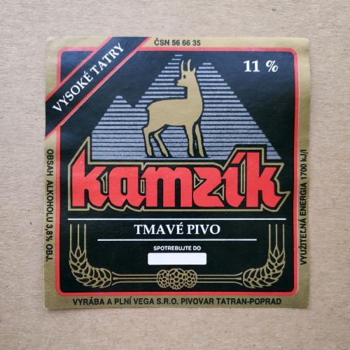 Этикетка пивная Kamzik TMAVE PIVO. Чехия.