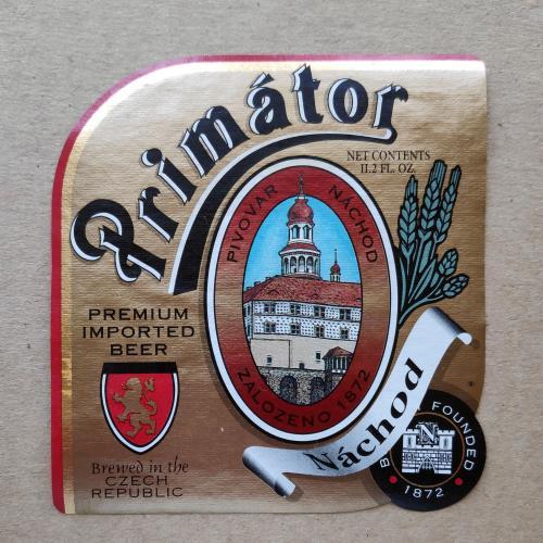 Этикетка пивная Primator - pivovar nachod. Чехия.