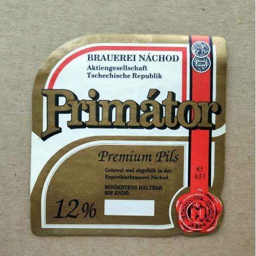 Этикетка пивная Primator Premium Pils - pivovar nachod. Чехия.